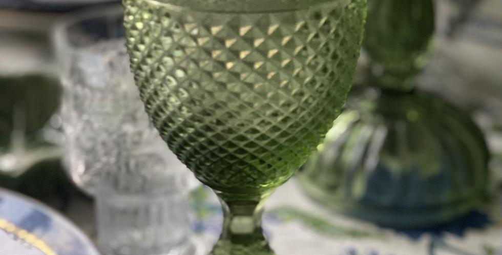 6 copas verdes vidrio  portugués