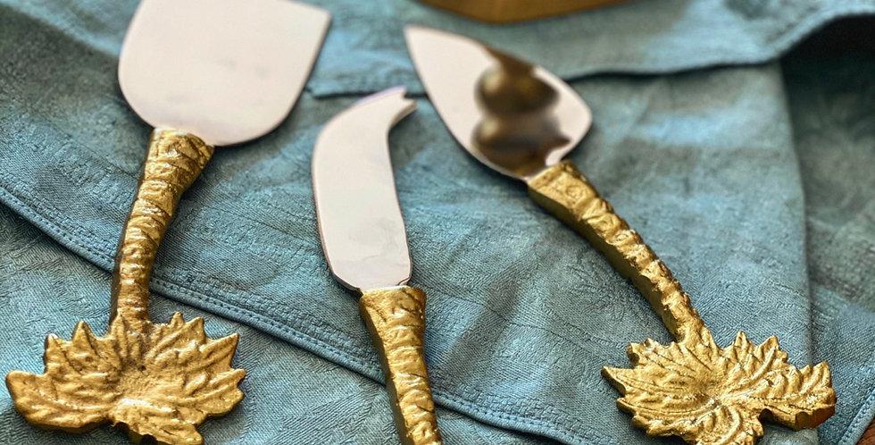 Juego de cubiertos  para el queso en acero y bronce