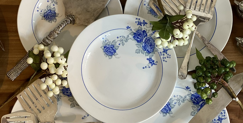 10 platos merienda porcelana ST Amand azul y blanca 19 cm