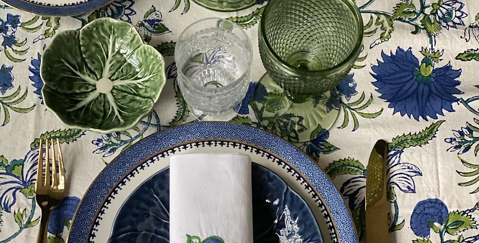 Mantel indio azul y verde 2,70 x 1,80 cm