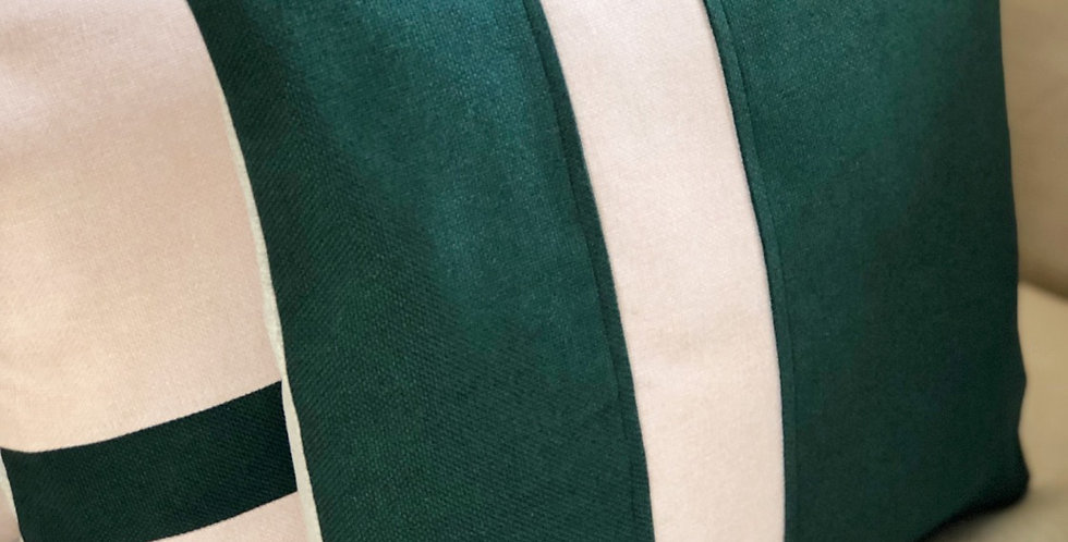 Funda de cojín raya verde
