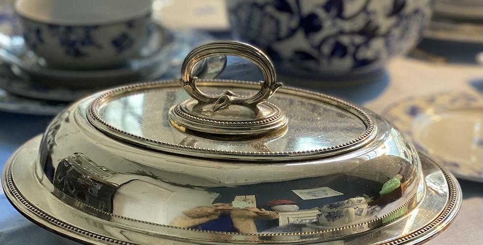 Legumbrera inglesa baño de plata ovalada