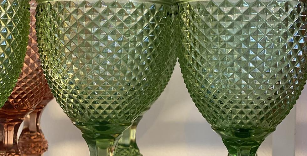 6 Copas verdes vidrio portugues