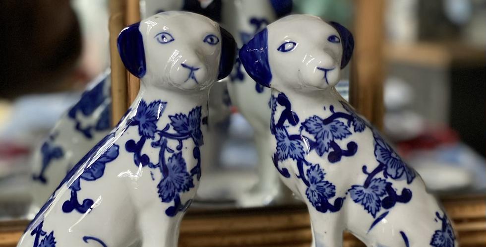 Pareja de Perritos azul y blancos 20 cm