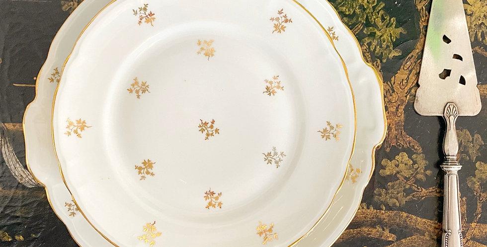 Juego de postre porcelana francesa ,  6 platos  y bandeja