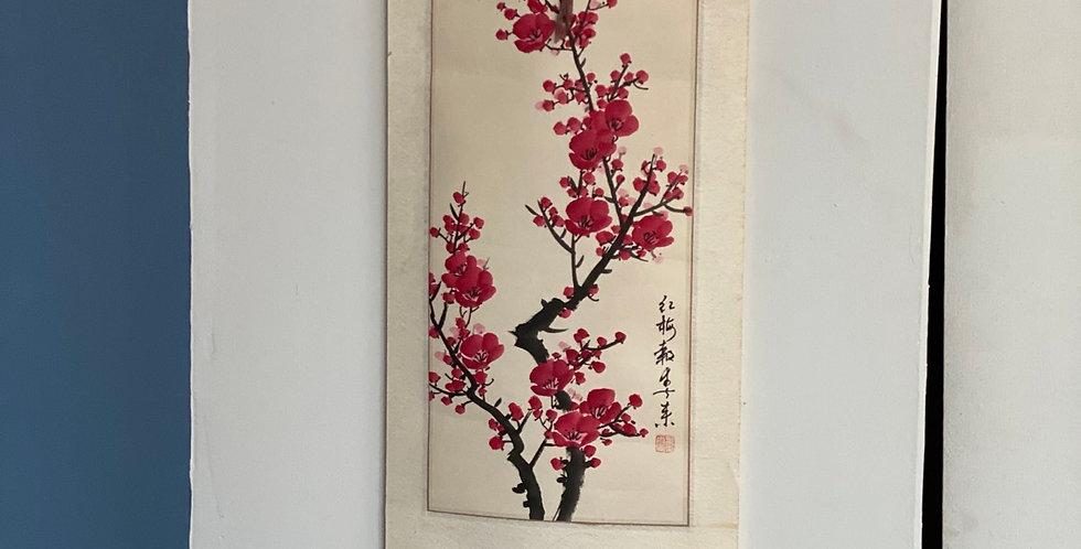 Pergamino vintage oriental pintado a mano