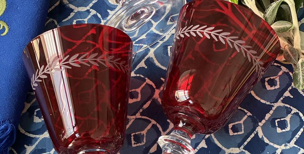 6 Copas rojas hoja agua