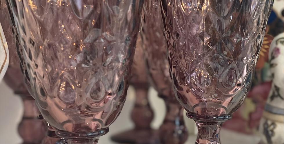 6 copas de vidrio francés color rosa