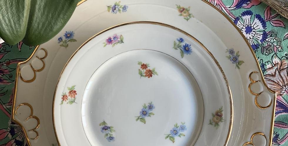 6 platos franceses  de merienda florecitas con bandeja