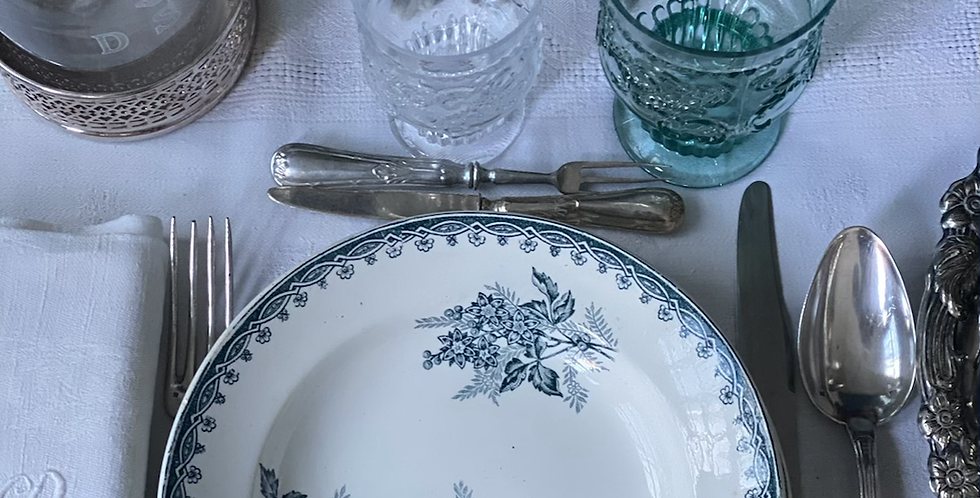 Juego de 16 platos( 8 hondos + 8 llanos) , cerámica francesa