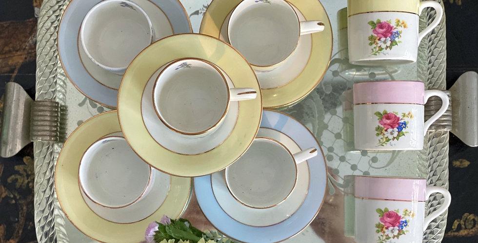 """6 Tazas de café """"moka"""" , porcelana inglesa"""