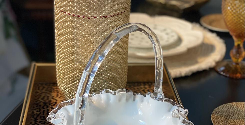 """Cesto cristal hecho a mano """" Fentón"""" , circa 1930"""