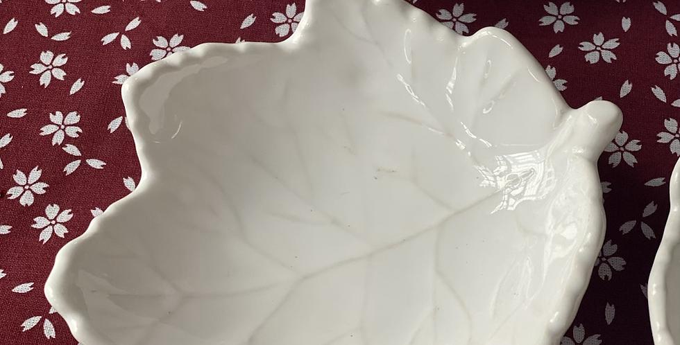 6 platitos hoja blanca , cerámica portuguesa
