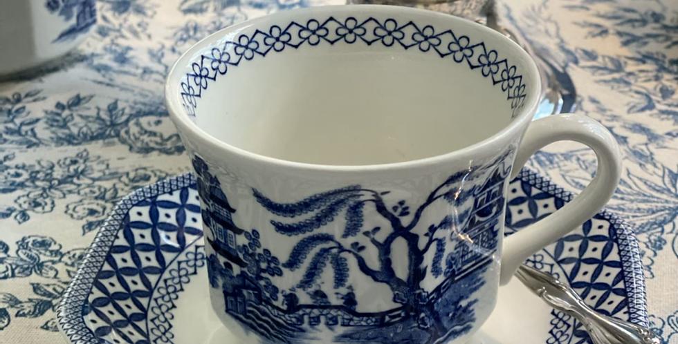 1 Taza 1 Taza de té con platito hexagonal, porcelana inglesa