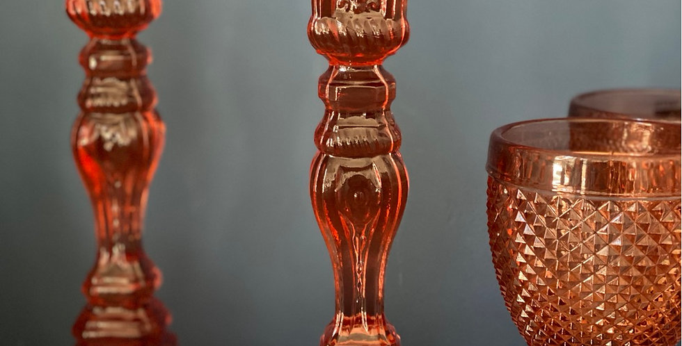 "Pareja de candelabros cristal ""pink"""