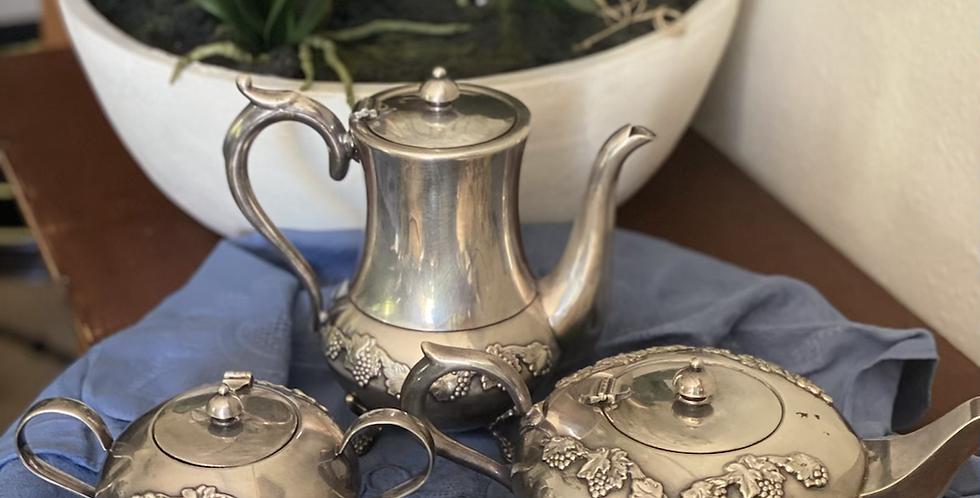 Juego inglés de té y café 4 piezas, baño de plata i