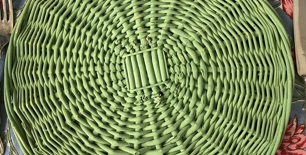 Bajoplato verde manzana mimbre, 32 cm