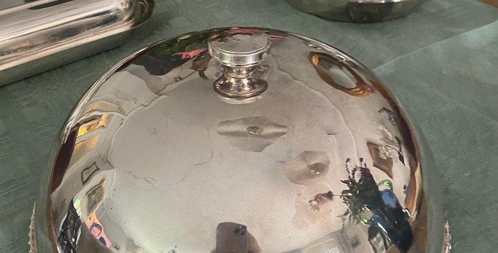 Cubreplatos inglés con baño  de plata , Circa1940