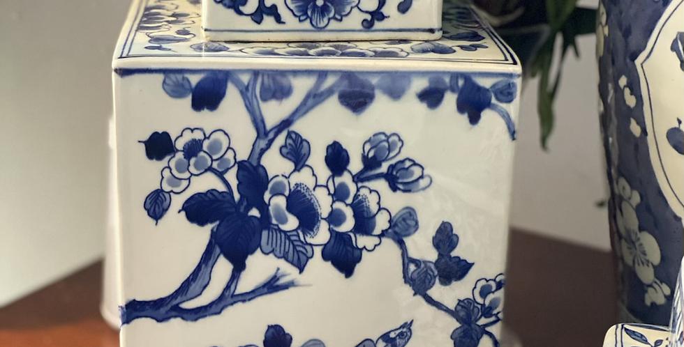 Tibor cuadrado azul y blanco 32 cm