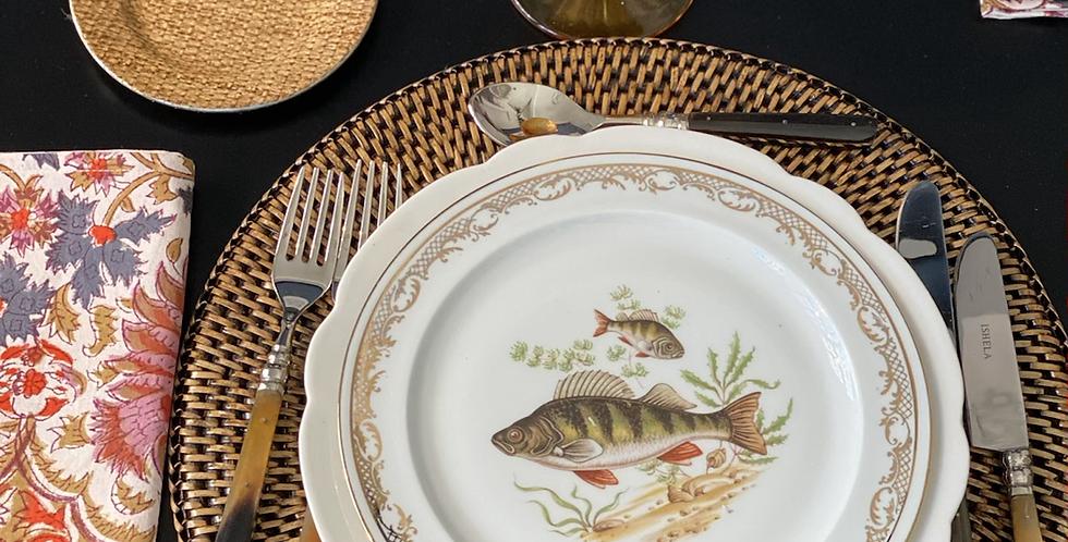 6 Platos peces porcelana francesa