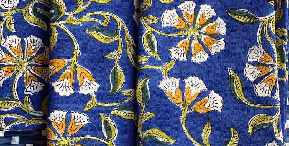 6 servilletas algodón indio azul y mostaza 46x46 cm
