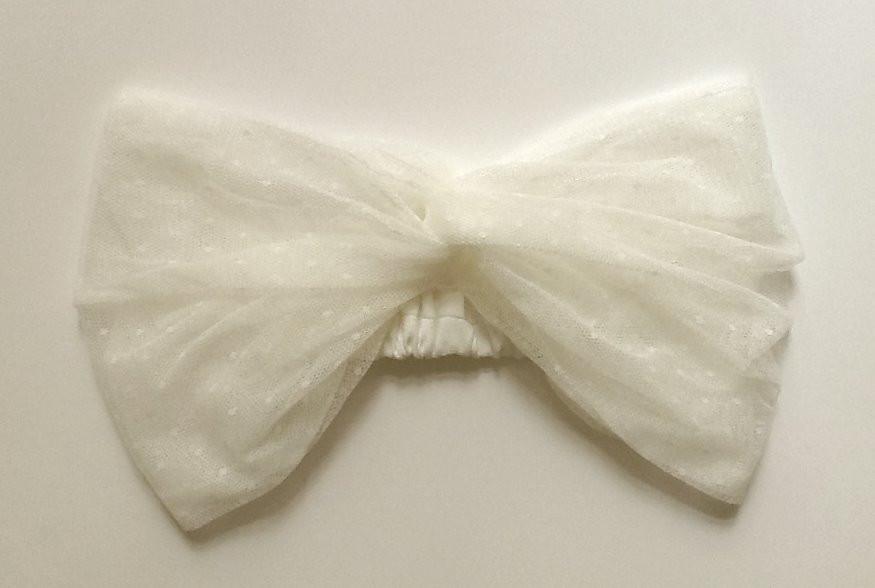 """Bridal headband """"Head over heel"""" in polka dot tulle"""
