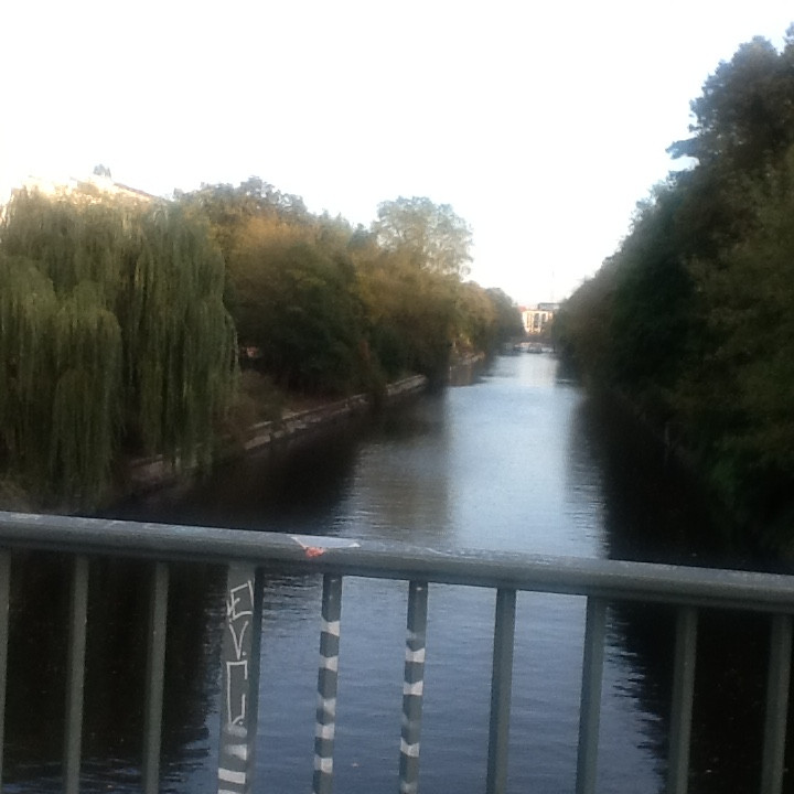 The view from the Hobrechtbrücke on the canal in Kreuzburg, Berlin