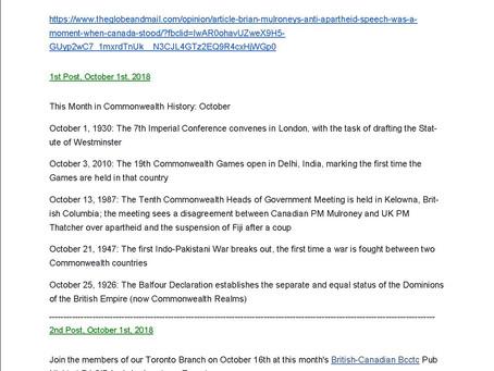RCSCA Newsletter October 2018