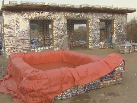 Woman transforming plastic waste into bricks for building 'silver houses' in Pakistan (Video