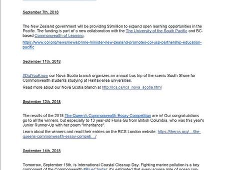 September 2018: RCSCA Newsletter
