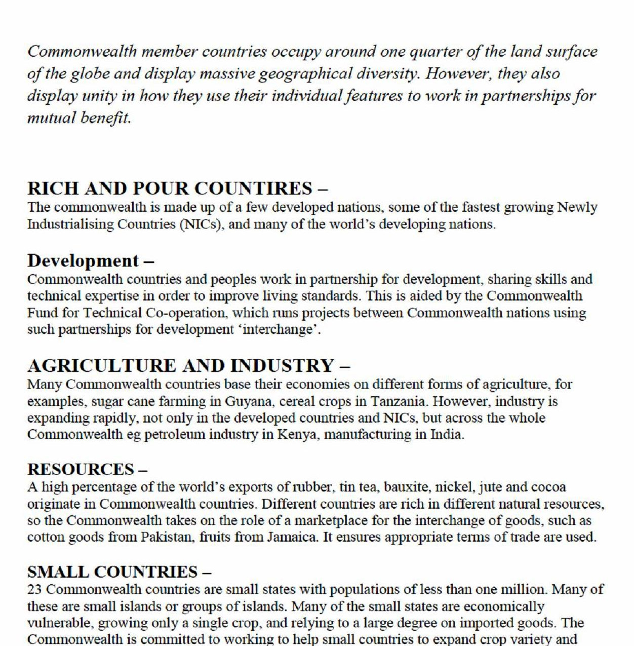Commonwealth Family Characteristics