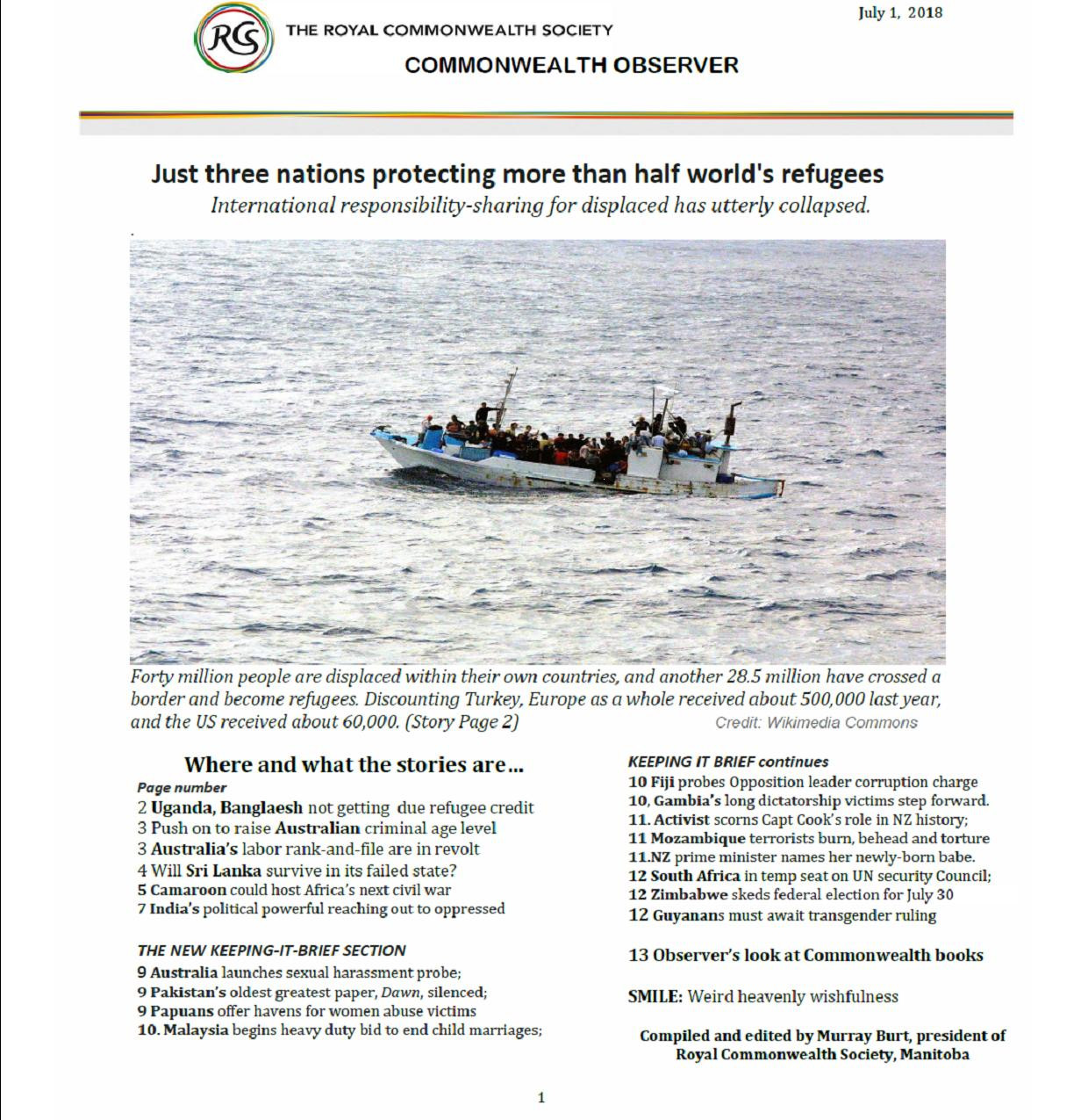 July 2018 Commonwealth Observer