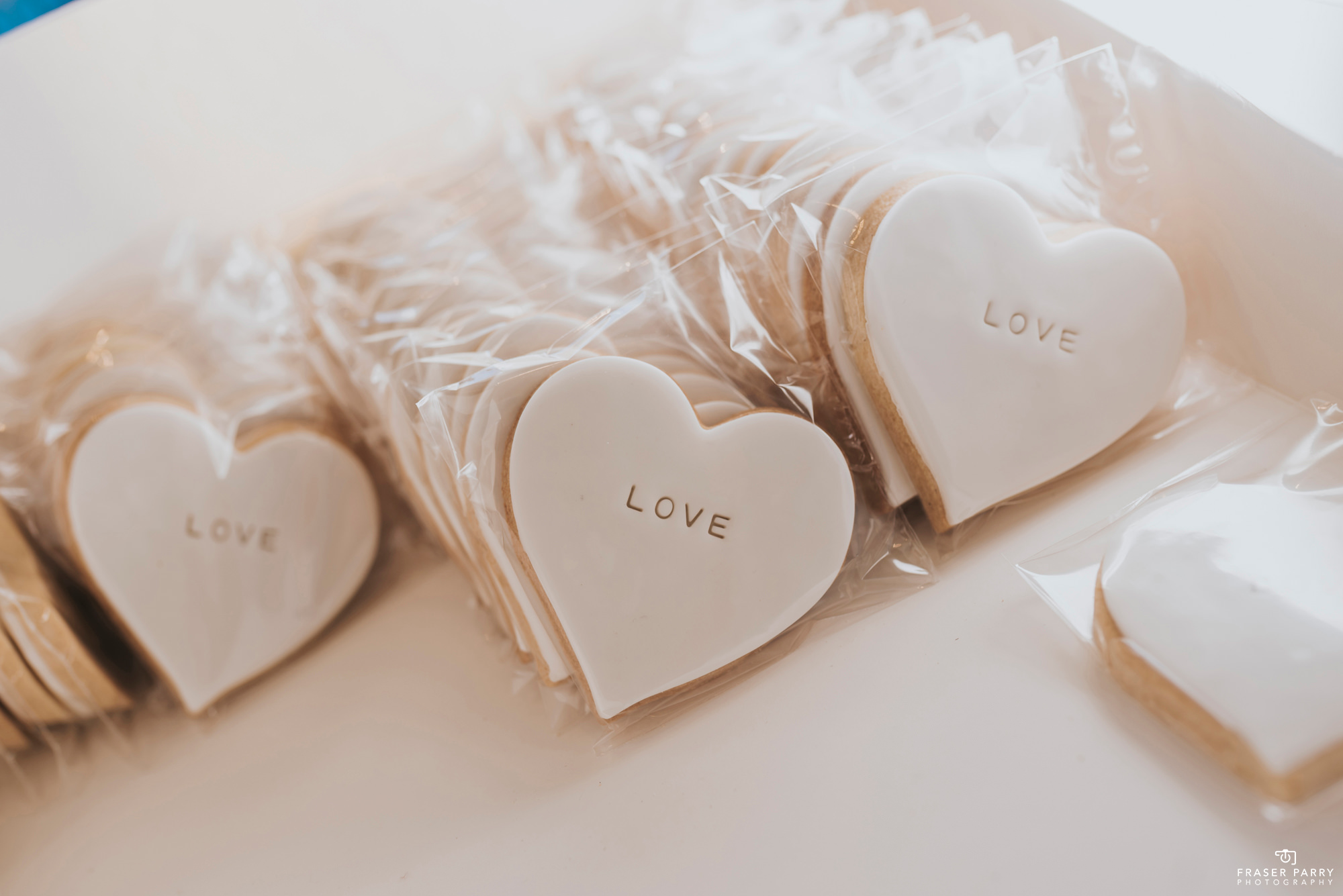 White heart wedding favours