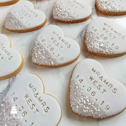 Personalised white wedding biscuit favours