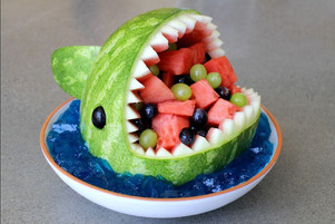 Fun Healthy Fruit Salad: Watermelon Shark