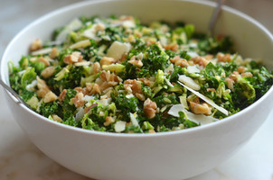 Kale & Brussels Sprout Salad with Walnuts, Parmesan & Lemon-Mustard Dressing (Low-carb |Keto)