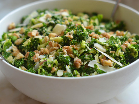 Kale & Brussels Sprout Salad with Walnuts, Parmesan & Lemon-Mustard Dressing (Low-carb  Keto)