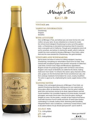 Cocktail Corner - Ménage a Trois 2015 Gold Chardonnay
