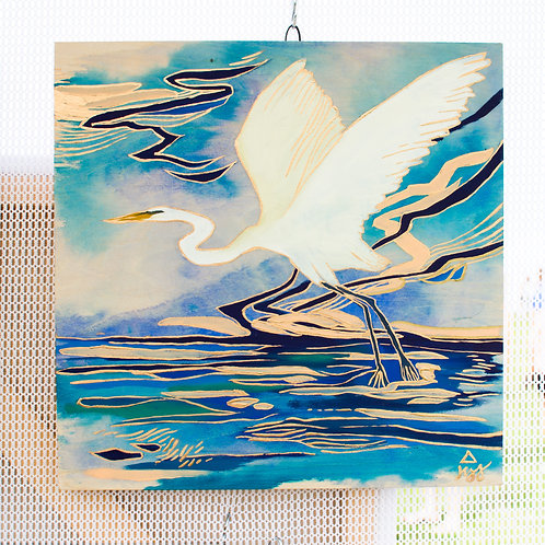 """Egret Over Water"" Original Oil Painting"