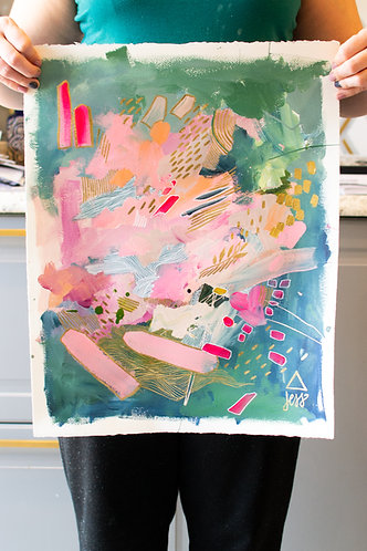 Green and Pink Original Abstract Painting II