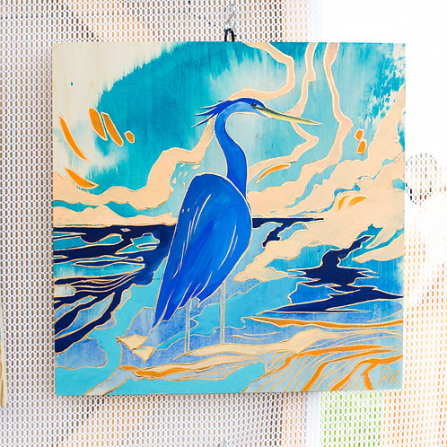 """Great Blue Heron"" Original Oil Painting"