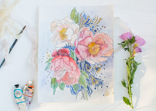 Of Peonies and Delicacy (Watercolor Illustration)