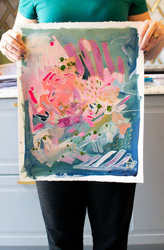 Green and Pink Original Abstract Painting I