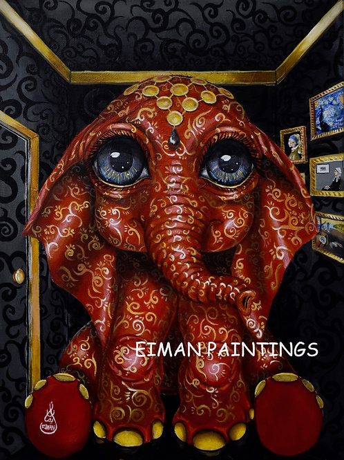 THE ELEPHANT IN THE ROOM EMBELLISHED GICLEE PRINT
