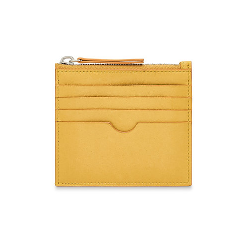 YELLOW LEATHER CHANGE & CARD POUCH