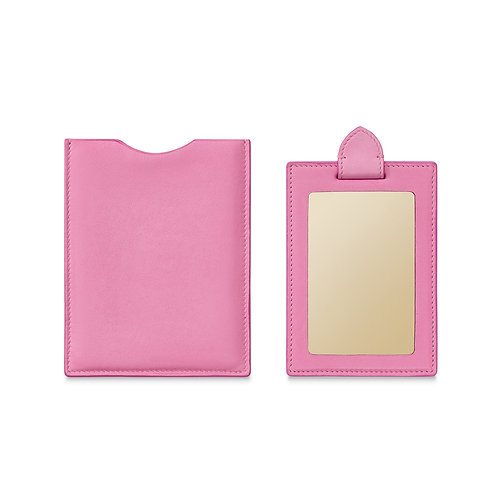 PINK LEATHER TRAVEL MIRROR