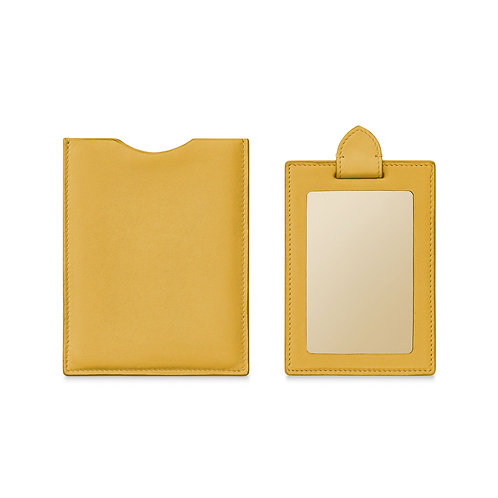 YELLOW LEATHER TRAVEL MIRROR