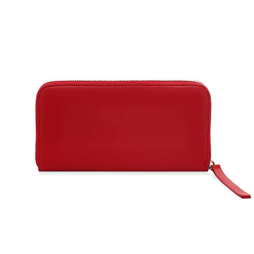 RED LEATHER CONTINENTAL PURSE