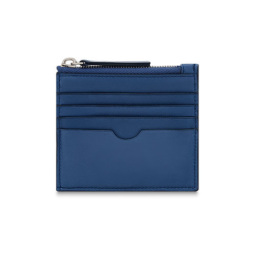 BLUE LEATHER CHANGE & CARD POUCH