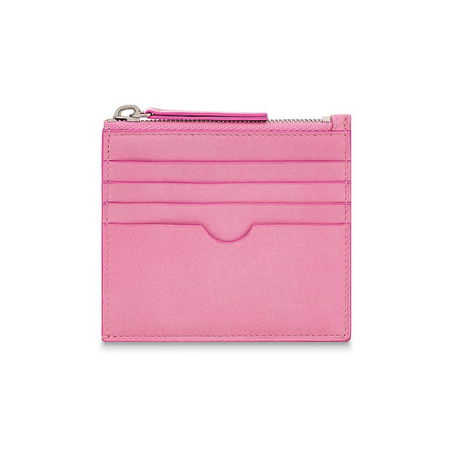 PINK LEATHER CHANGE & CARD POUCH
